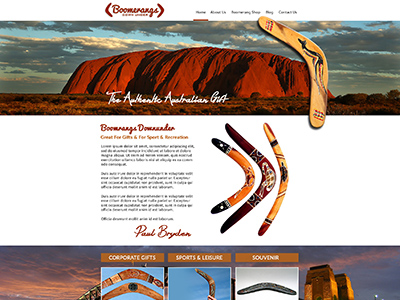 Website Design for Boomerangs Downunder